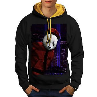 Panda Beast Face Animal Men Black (Gold Hood) Contrast Hoodie | Wellcoda