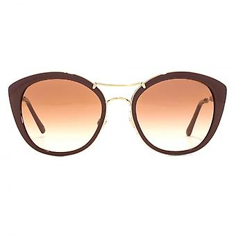 Burberry Fabric Temple Double Bridge Sunglasses In Bordeaux