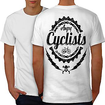 Angry Cyclist Cool Men WhiteT-shirt Back | Wellcoda