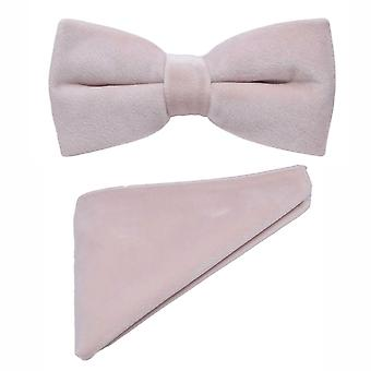 Luxury Dusky Pink Velvet Bow Tie & Pocket Square Set