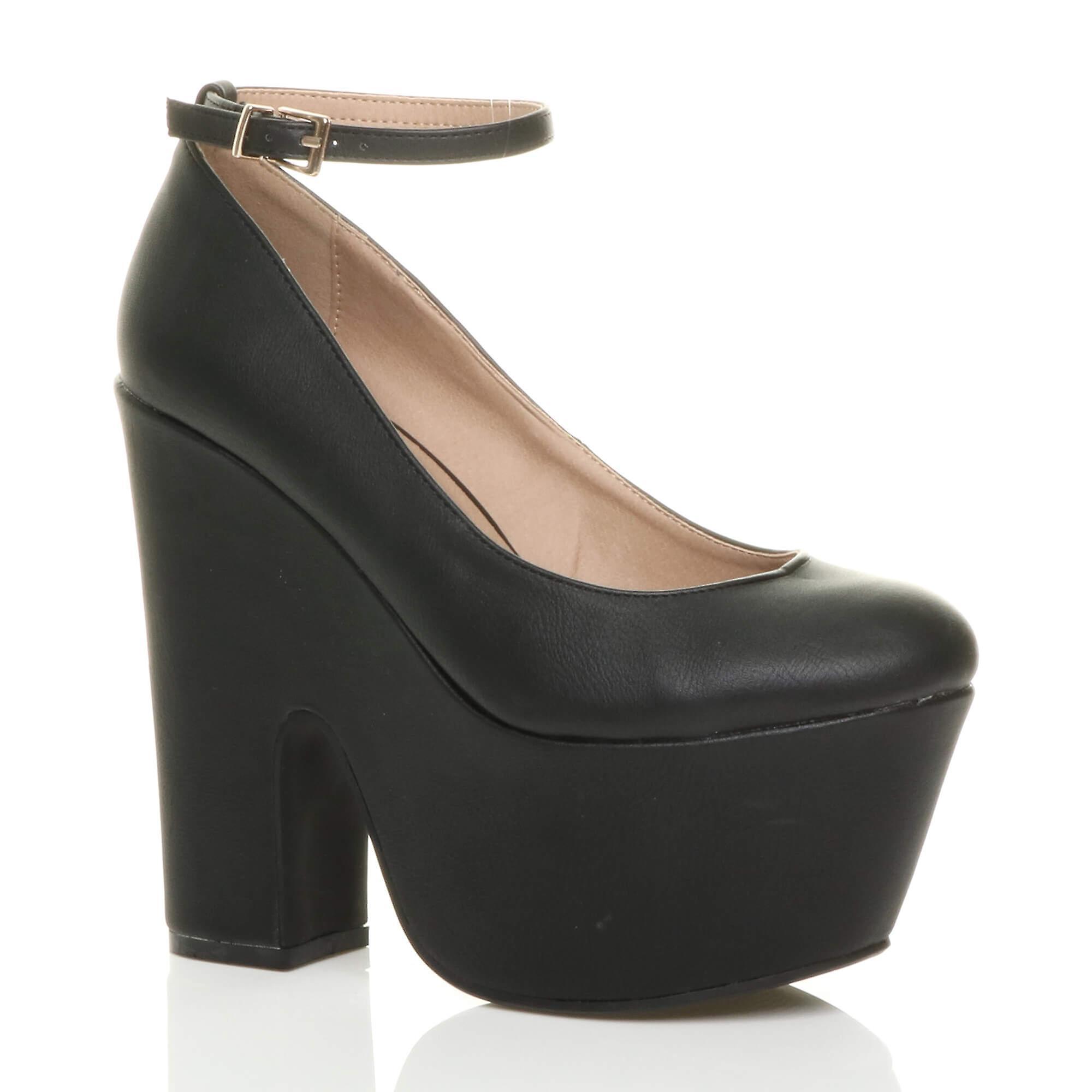 Ajvani womens block high demi heel chunky platform semi demi high wedge shoes 0af3b8