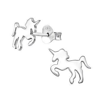 Unicorn - 925 Sterling Silver Plain Ear Studs - W33792x