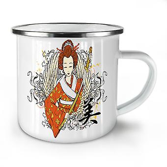 Geisha WIng Sword Fantasy NEW WhiteTea Coffee Enamel Mug10 oz | Wellcoda
