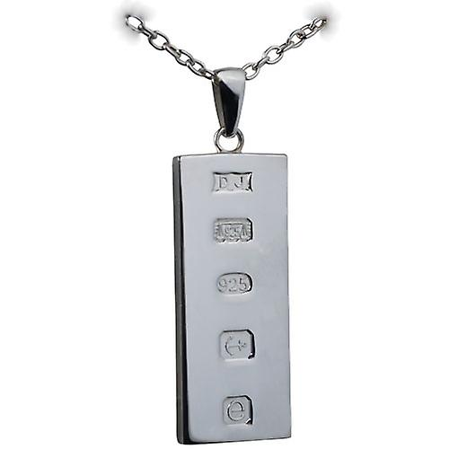 Silver 39x18mm solid display hallmark Ingot one ounce Pendant on a bail  with a cable Chain 18 inches