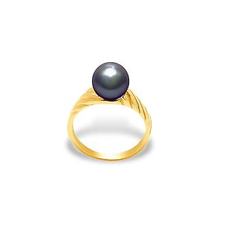 Ring Culture Pearl black and yellow gold 375/1000