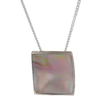 Shipton and Co Ladies Shipton And Co Exclusive Silver Rectangular Pink Mother Of Pearl Pendant Including A 16 Silver Chain TKW076PM