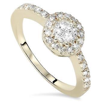 3 / 4ct Halo gult gull Wedding diamantring