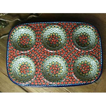 Baking pan, 29 x 20 x 4 cm, with 6 grooves, 1 - Unikat polish pottery - BSN 6434