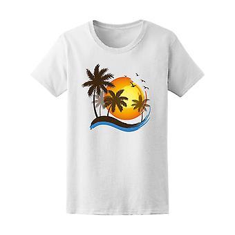 Sea Sunset Tropical Beach Tee kvinnors-bild av Shutterstock