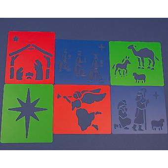 6 Plastic Christian Nativity Stencils for Kids Christmas Crafts