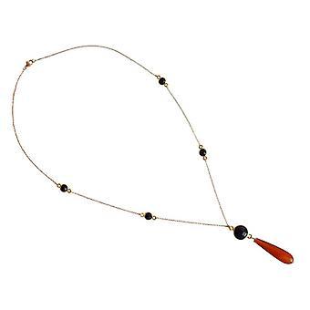 Gemshine Halskette Vergoldet Karneol Onyx Orange Schwarz PARTY DROPS
