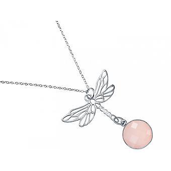Gemshine Damen  Halskette Anhänger 925 Silber LIBELLE Rosenquarz Rosa 45 cm