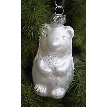 White glitter tree hanger tree ornament HEDGEHOG glass set of 2 set of Christian baby jewelry