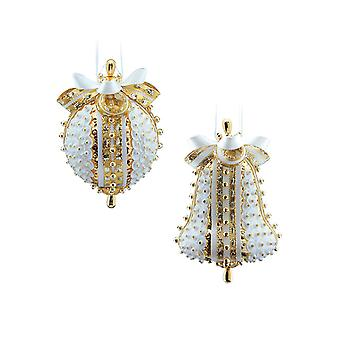 Pinflair Sequin & Pin Gold & White Bauble Ornaments - Makes 2