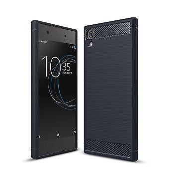 Sony Xperia XA1 Ultra TPU Case Carbon Fiber Optik Brushed Schutz Hülle Blau