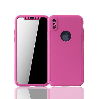 Apple iPhone X phone case protective case full cover tank protection glass pink