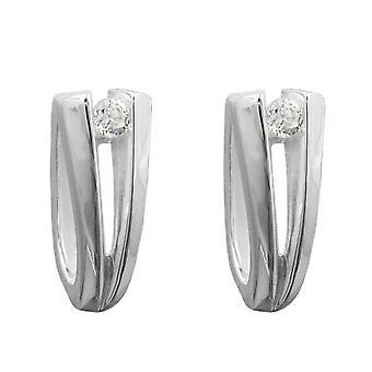 Fine sølv Kreolske Kreolske hvit sølv cubic zirconia øreringer 925 sterlingsølv