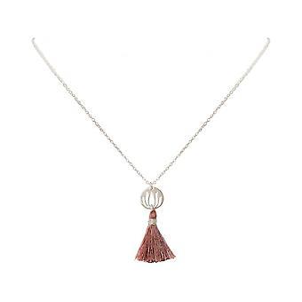 Ladies - - pendant - necklace 925 Silver - Lotus Flower - tassel - rose - YOGA - 45 cm