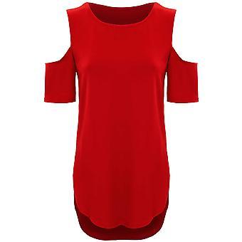 Ladies Short Sleeve Cut Out Cold Shoulder High Low Split Hem Crepe T-Shirt Top