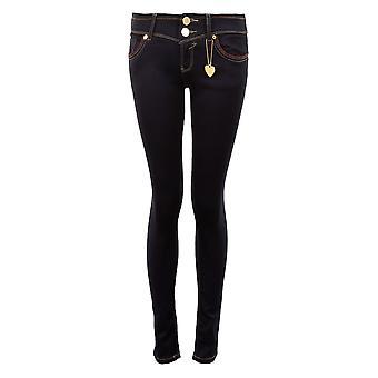 Cravejado de senhoras cor de ajuste magro magro Jeans feminina jeans calca