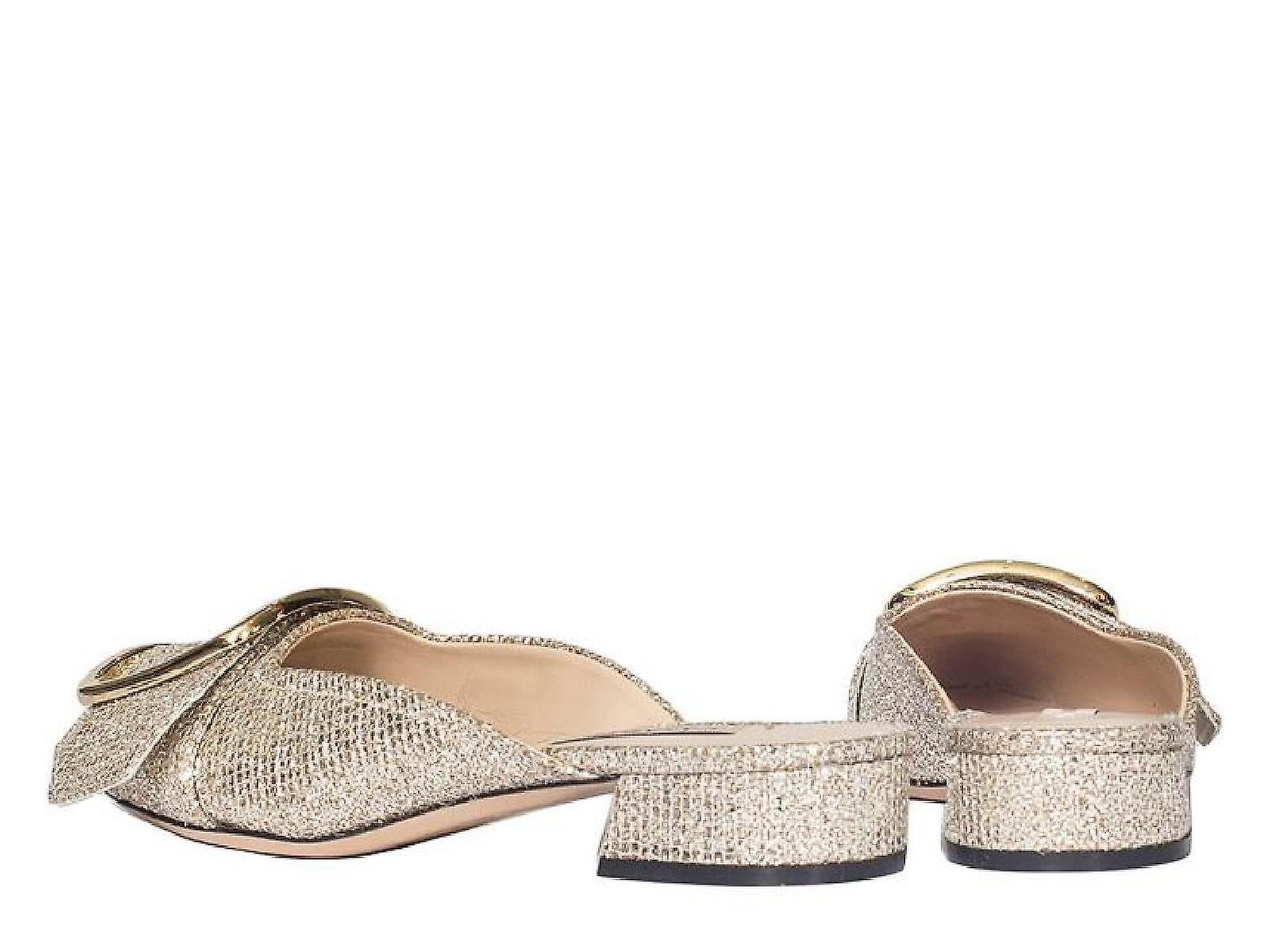 Casadei close slippers in platinum leather glitter