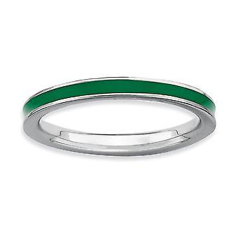 Sterling Zilver gepolijst Rhodium-plated stapelbare expressies groen geëmailleerd 2,25 mm Ring - Ringmaat: 5 tot en met 10