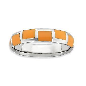 Sterling Silver Rhodium-plated Stackable Expressions Polished Orange Enameled Ring - Ring Size: 5 to 10