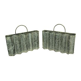 Distressed Finish Metal Pleated Pocket Set of 2
