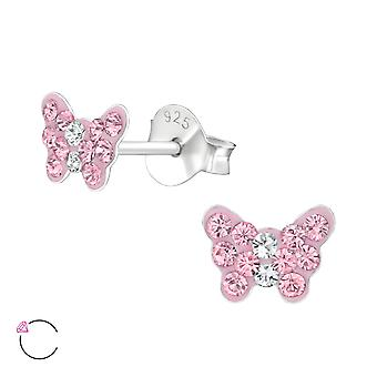 Schmetterling - 925 Sterling Silber Crystal Ohrstecker - W29472x