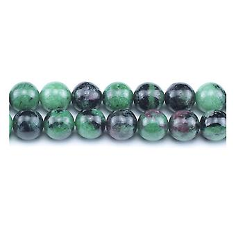 Packet 10 x Green/Black Ruby In Zoisite 6mm Plain Round Beads VP1635
