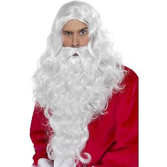 Smiffys langt krøllete parykk, Santa lang Wig med skjegg