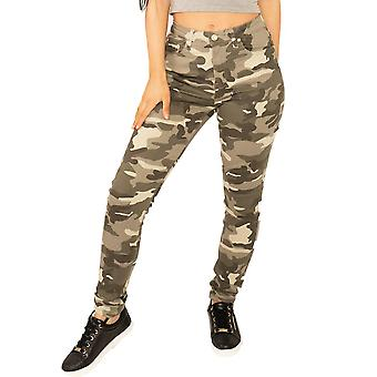 Slim Camouflage Trousers - Light Green