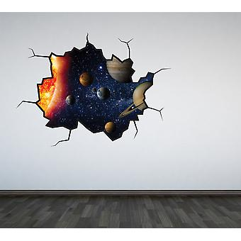 Full Colour Solar System Cracked Wall Sticker