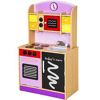 Cuisine dinette cuisinière en bois pour enfant jeux jouet moderne jeu du rôle d'imitation chef set kit orange violet 0108017