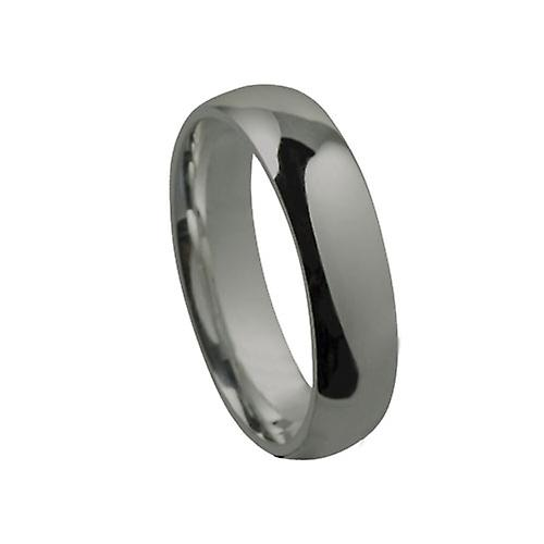 18ct White Gold 6mm plain Court shaped Wedding Ring Size Z
