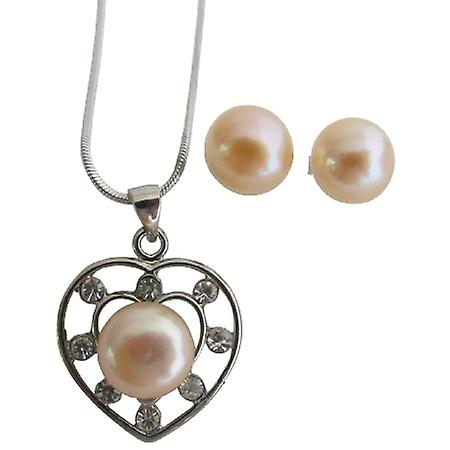 Heart Shaped Freshwater Peach Pearls Pendant & Earrings Set