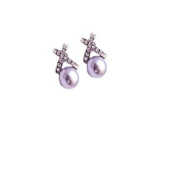 Classic Design 10mm Lavender Swarovski Stud Pearls Earring For Wedding