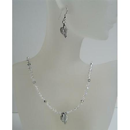 Custom Handcrafted Jewelry AB Crystals Swarovski Leaf Pendant Earrings