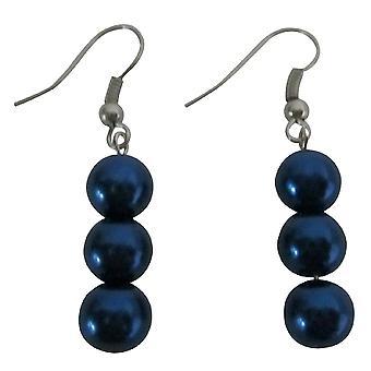Slående knusende mørk blå perler øredobber 3 perler øredobber