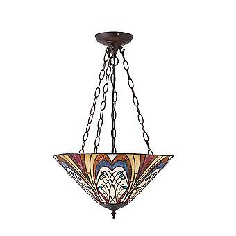 Hector moyen Tiffany Style suspension inversée de la lumière plafond trois - Interiors 1900 70750