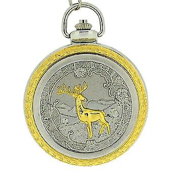 Boxx Deer Jumbo Size Pocket Watch on 12 Inch Chain Boxx82