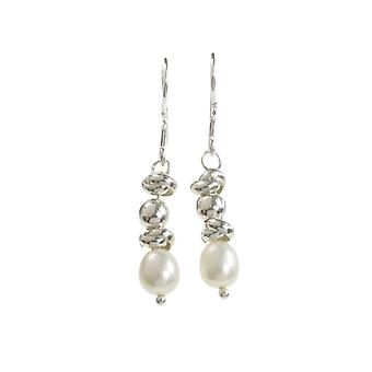 Cavendish French Sterling Silver and Pearl Multi-Bead Drop Earrings