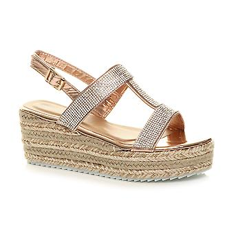 Ajvani Womens wedge heel strappy platform diamante espadrille flatform sandals
