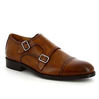 Leonardo Shoes Hommes faits à la main doubles moines mocassins chaussures en cuir de veau tan