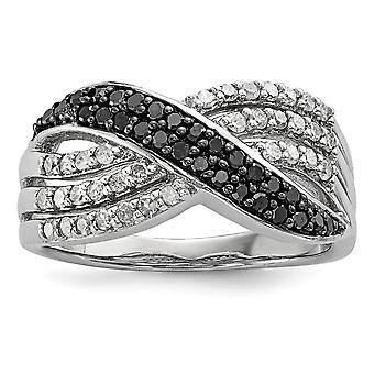 925 Sterling Silver Polished Prong set Gift Boxed Rhodium-plated Black and White Diamond Ring - Ring Size: 7 to 8